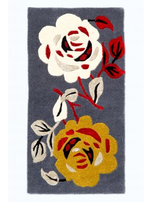 Handmade Botanical Wool Rug - 5052 - Blue - 60x120