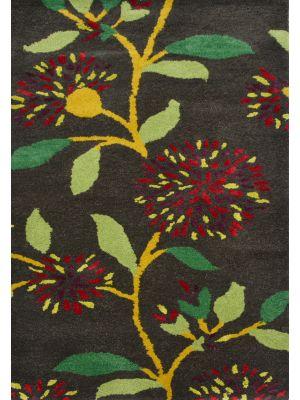 Handmade Botanical Wool Rug - 5053 - Grey - 60x120
