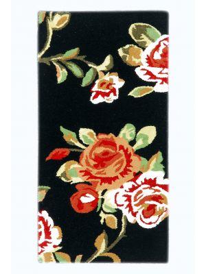 Handmade Botanical Wool Rug - 5054 - Black - 60x120