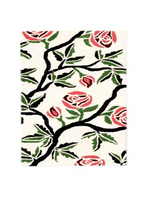 Handmade Botanical Wool Rug - 5056 - Ivory - 60x120