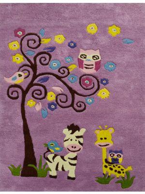 Handmade Kids Wool Rug - K-136 - Pink - 110x160