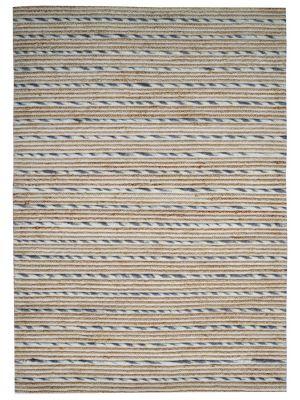Hand Woven Wool & Jute Rug - Stripe-M20038 - Natural/Grey - 80x150