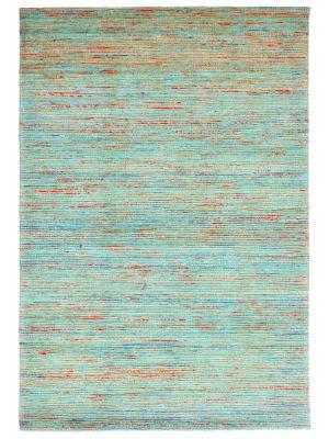 Hand Woven Jute & Silk Rug - Stripe 6001 - Natural/Aqua - 160x230