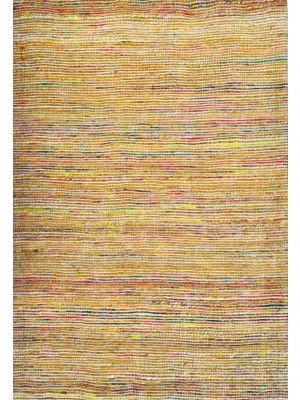 Hand Woven Jute & Silk Rug - Stripe 6001 - Natural/Gold - 110x160
