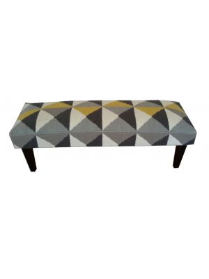 Contemporary Wooden Bench-1005-Yellow/Grey-120x40x40
